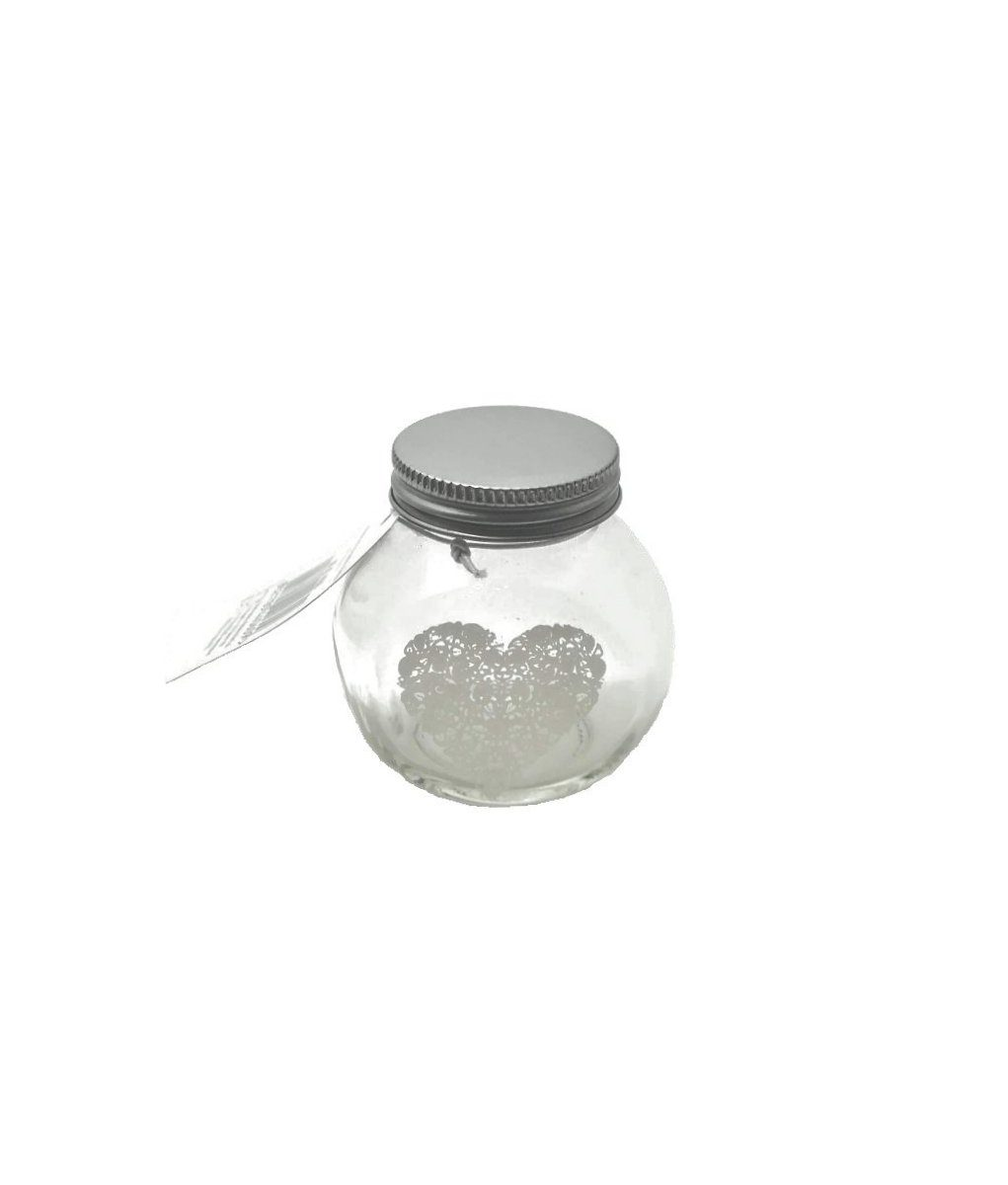 Portaspezie in vetro con coperchio in alluminio